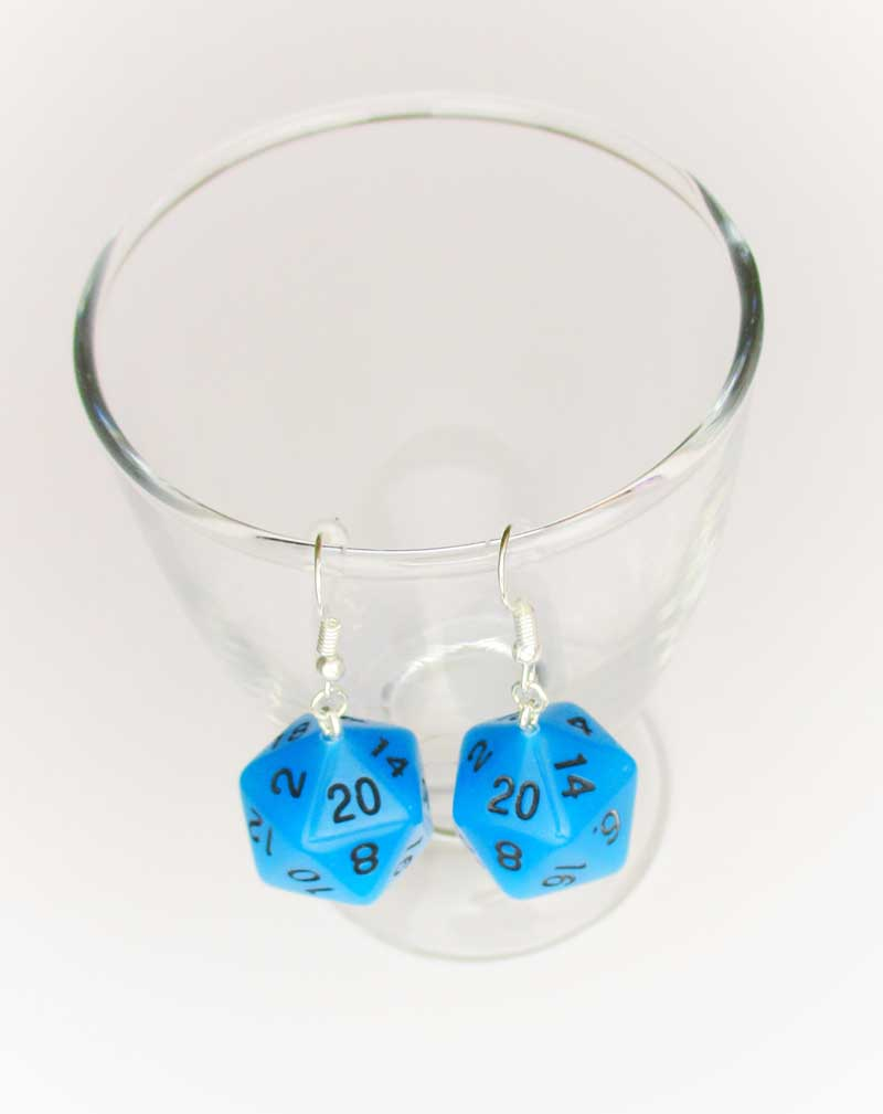 Clear Frosted D20 Earrings