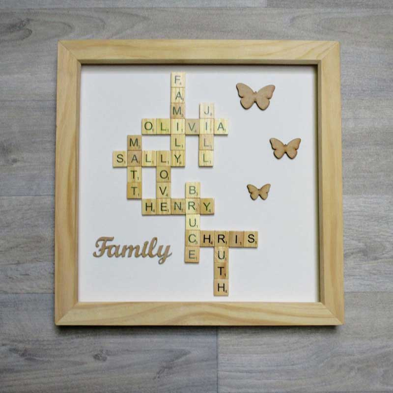Personalised FAMILY Scrabble FRAME Picture Gift KEEPSAKE Any Names