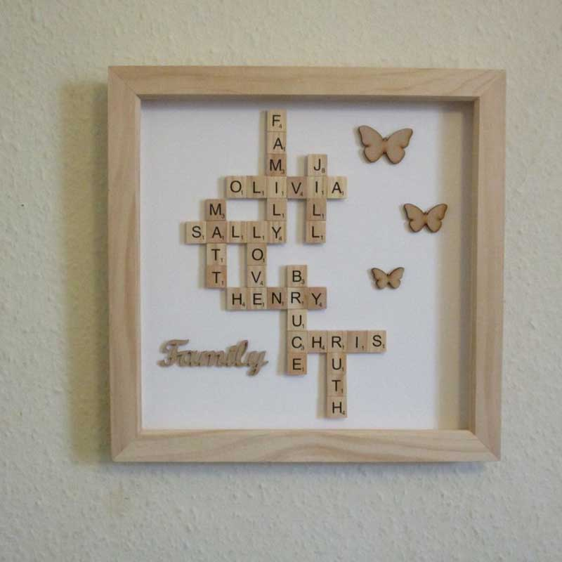 Large Personalised Scrabble Frame On Wall