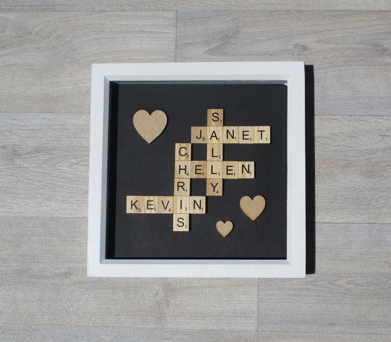 Medium Personalised Scrabble Frame Front Black